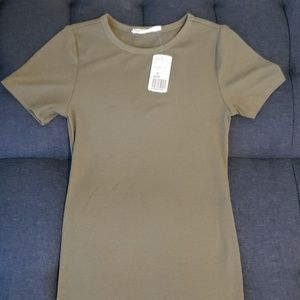 Forever 21 olive green ribbed t shirt dress